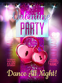 Disco Valentine background. Disco poster — Vetor de Stock