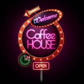 Neon sign. Coffee house — Stock Vector