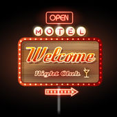 Neon sign motel welcome — Stock Vector
