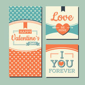 Vintage Happy valentines day and weeding cards — Stock Vector