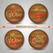 Set of wooden casks with wine label — Stock Vector