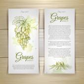 Set of wine labels. Grapes sketch — Stock Vector