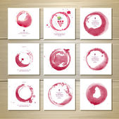 Art wine cards and labels design. Watercolor circles — Stock Vector