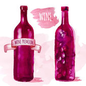 Watercolor artistic wine bottle — Stock Vector