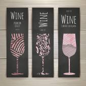 Set of art wine glass banners and labels design — Stockvector