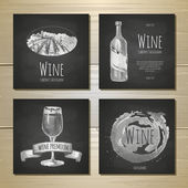 Set of art wine banners and labels design. Chalk drawing — Vector de stock