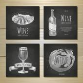 Set of art wine banners and labels design. Chalk drawing — Stock vektor