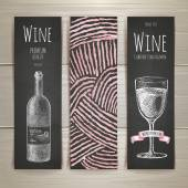 Set of art wine banners and labels design. Chalk drawing — Stock Vector