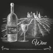 Hand drawn chalk drawing wine background — Stock Vector