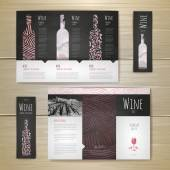 Watercolor Wine concept design. Corporate identity. Document temlate — ストックベクタ