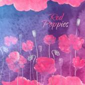 Waterolor red poppies on purpure background — 图库矢量图片