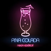 Neon sign. Cocktail — Vector de stock