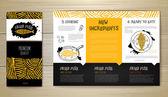 Projeto de conceito do menu de restaurante de peixe frito. Identidade corporativa. Modelo de documento — Vetor de Stock