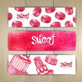 Set of sweet or dessert banners — Stock Vector