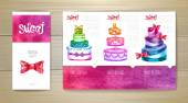 Watercolor dessert concept design. Corporate identity. Document  template — Stock Vector
