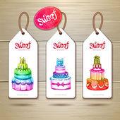 Set of art cake or dessert banners.  labels design — Stock Vector