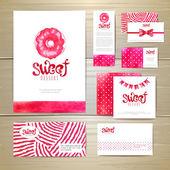 Sweet dessert document template design. Corporative identity — Stock Vector