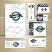 Fried fish restaurant menu concept design. Corporate identity. Document template — Stock Vector