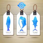 Set of fish seafood banners. Document template — ストックベクタ