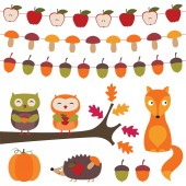 Autumn elements set — Stock Vector