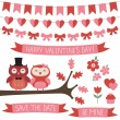 Cute set with owls in love — Cтоковый вектор #55384145