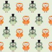 Seamless owls pattern — Stock Vector