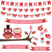Cute set with owls in love — 图库矢量图片