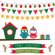Christmas set with cute owls — Vector de stock  #56459713