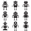 Robot silhouettes set — Stock Vector #56746353