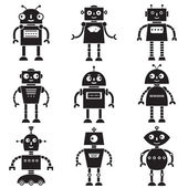 набор силуэтов робот — Cтоковый вектор