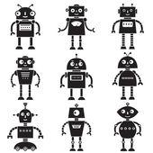 Robot silhouettes set — Stock Vector