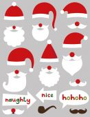 Christmas photo booth and scrapbooking Santa set (hats, beards, naughty and nice signs) — Stock Vector