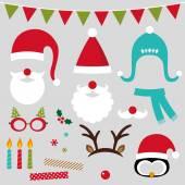 Christmas photo booth and scrapbooking set (Santa, deer, penguin, xmas decoration) — Stock Vector
