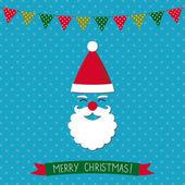 Julkort med Santa och xmas inredning — Stockvektor