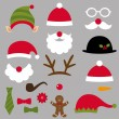 Christmas Santa, elf, deer and snowman design elements set — Stock Vector #59195857