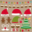 Christmas design elements, decoration, Santa and and elf hats — Stock Vector #59821111