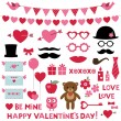 Valentine's Day set  - photo booth props and design elements — Vector de stock  #59821119
