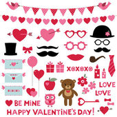 Valentine's Day set  - photo booth props and design elements — Stock Vector