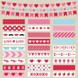 Valentines Day decoration and washi tapes set — Stock Vector #60855399