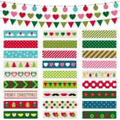 Christmas decoration and washi tapes set — Stock Vector