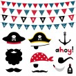 Pirate photo booth props and scrapbooking set — Stock Vector #61790453