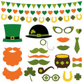 St. Patrick's Day design elements and photo booth props set — Stock Vector