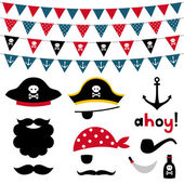 Pirate photo booth props and scrapbooking set — Stock Vector