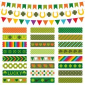 St. Patrick's Day decoration and washi tapes set — Stock Vector