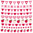 Valentine's Day bunting and decoration set — Stock Vector #63740689