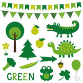 Design elements in green color — Stock Vector
