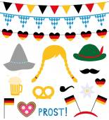 Oktoberfest photo booth and design elements set — Stock Vector