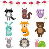 Conjunto de animales de bosque — Vector de stock