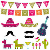 Mexican party decoration and photo booth props vector set — Stock Vector