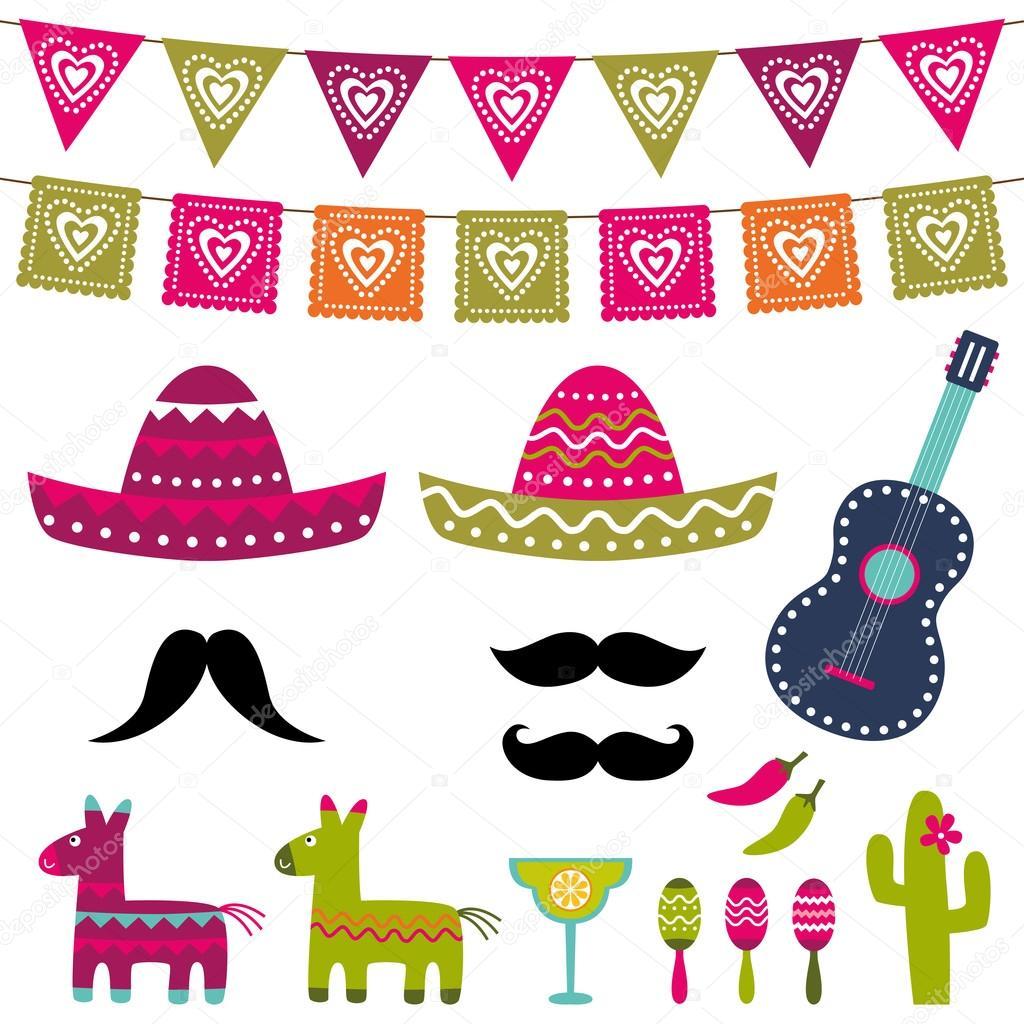 Fiesta Mexicana decoración y photo booth apoyos vector set ...